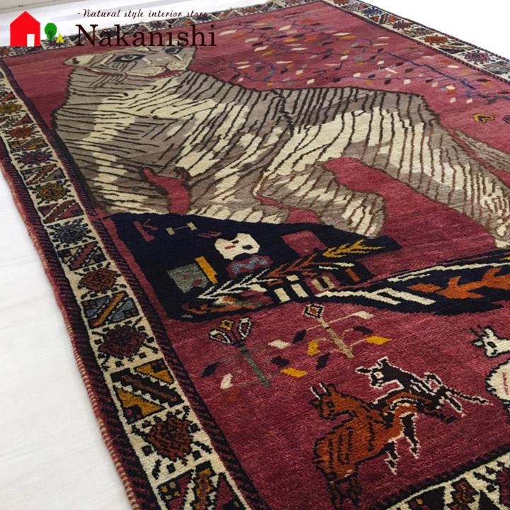 【オールド ギャッベラグ 約1.5畳 キングダム】GABBEH・ギャッペ(ギャべ)・イラン製・カーペット・ラグ・絨毯(じゅうたん)・約137×205cm・レッド
