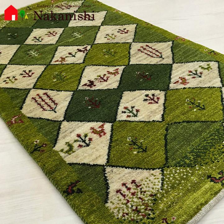 【ギャッベラグ トロイの王子様 約102×60cm】GABBEH・ギャッペ(ギャべ)・イラン製・カーペット・ラグ・絨毯(じゅうたん)・グリーン系