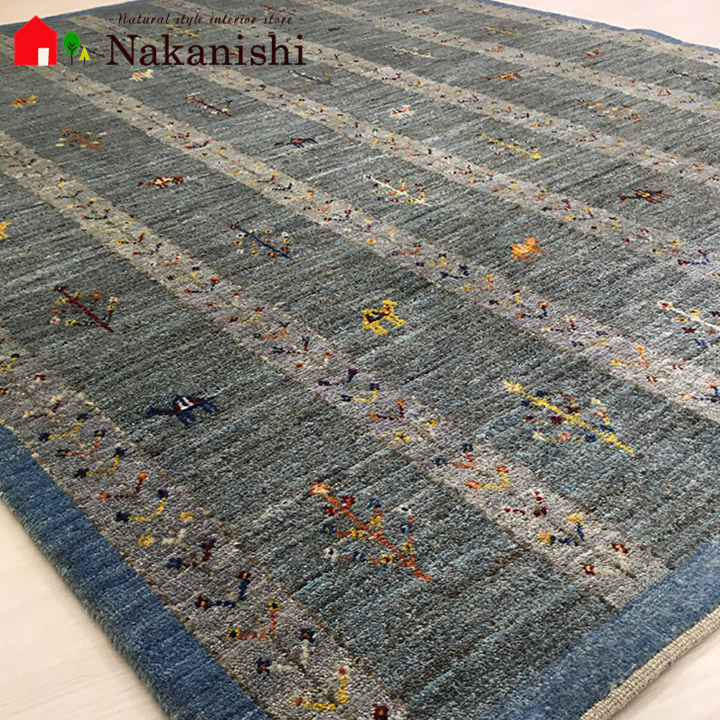 【ギャッベラグ 約1.5畳 10020835】GABBEH・ギャッペ(ギャべ)・イラン製・カーペット・ラグ・絨毯(じゅうたん)・約151×198cm・ブルー系