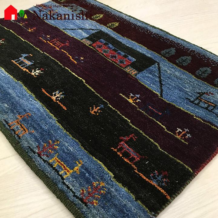 【ギャッベ 玄関マット MokoMoko】GABBEH・ギャッペ(ギャべ)・イラン製・玄関マット・カーペット・ラグ・絨毯(じゅうたん)・約84×61cm・ブルー・パープル・グリーン