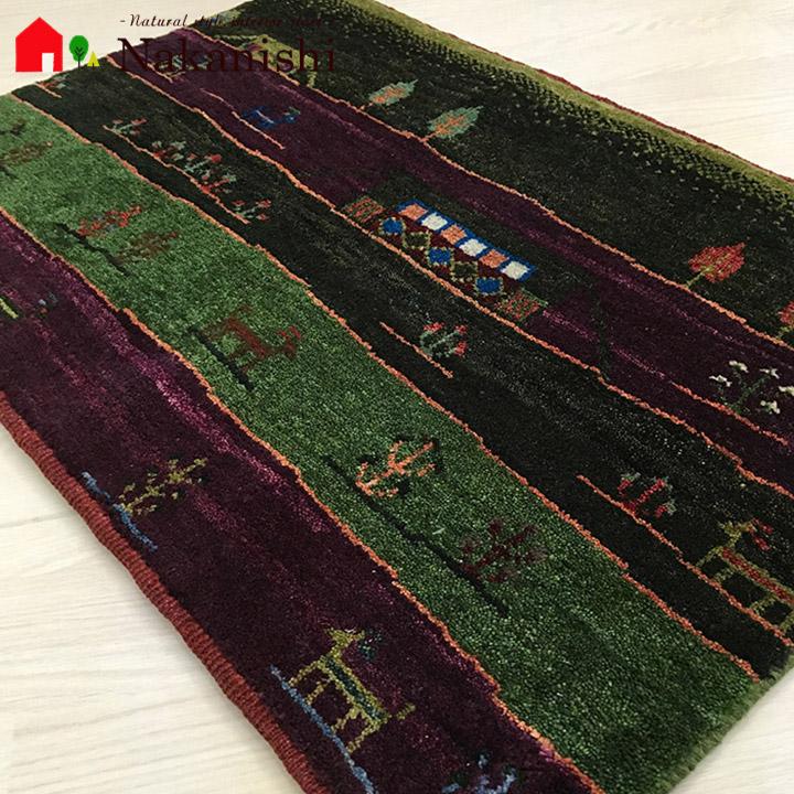 【ギャッベ 玄関マット MokoMoko2】GABBEH・ギャッペ(ギャべ)・イラン製・玄関マット・カーペット・ラグ・絨毯(じゅうたん)・約86×59cm・パープル・グリーン
