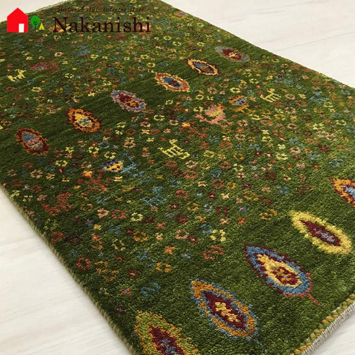 【ギャッベ 玄関マット すずめの大空】GABBEH・ギャッペ(ギャべ)・イラン製・玄関マット・カーペット・ラグ・絨毯(じゅうたん)・約92×55cm・グリーン系