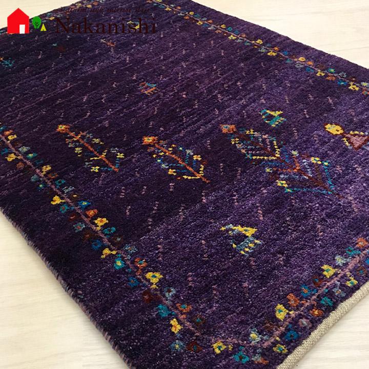 日本初の 【ギャッベ 玄関マット Witch】GABBEH・ギャッペ(ギャべ)・イラン製・玄関マット・カーペット・ラグ・絨毯(じゅうたん)・約76×51cm・パープル系・紫, 谷岡の甘栗@静岡こだわりグルメ館 203f156b