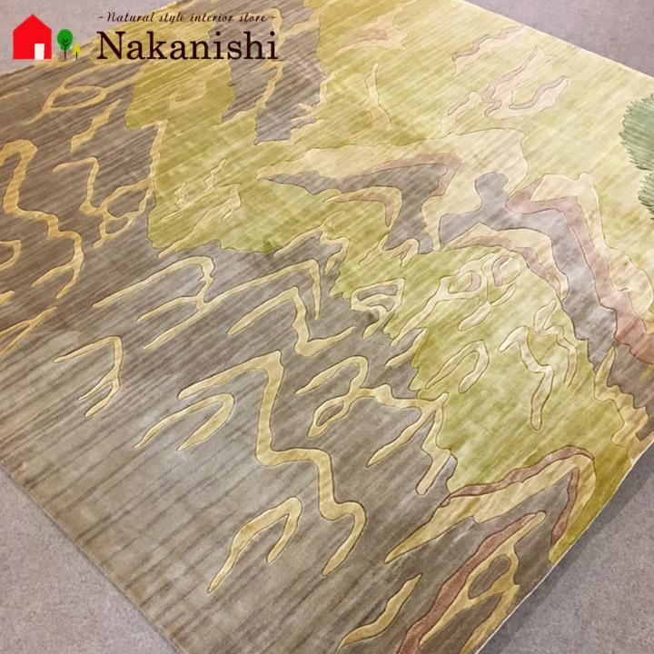 【中国段通 シルク 約2畳用】「黄河の流れ」絨毯(じゅうたん)・カーペット・ラグ・絹(シルク)100%・約198×203cm