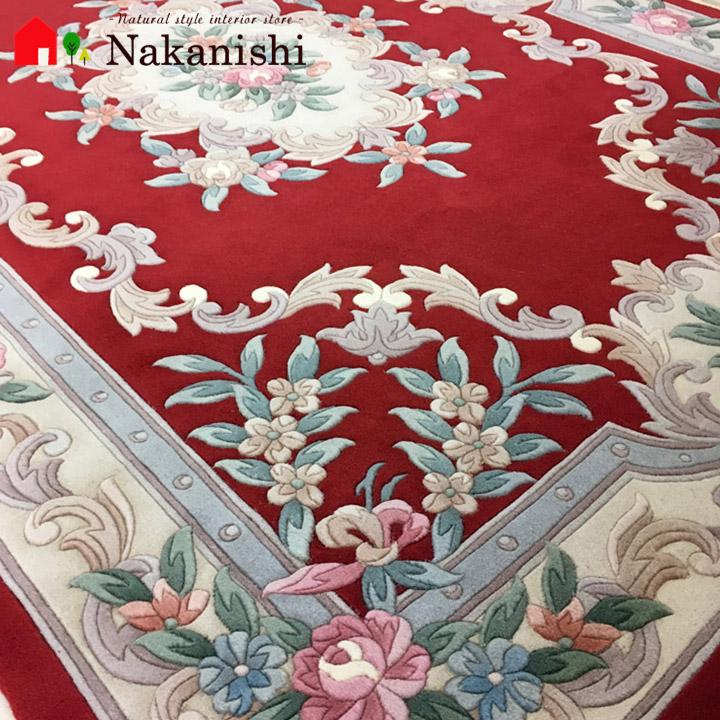 【中国段通 ウール 約3畳用】「秀麗」絨毯(じゅうたん)・カーペット・ラグ・毛(ウール)100%・約167×245cm・90段・レッド
