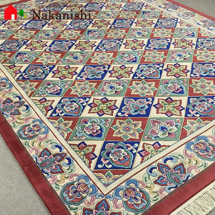 【中国段通 ウール 約6畳用】「Harry library red」絨毯(じゅうたん)・カーペット・ラグ・毛(ウール)100%・約244×303cm・120段・レッド・カラフル