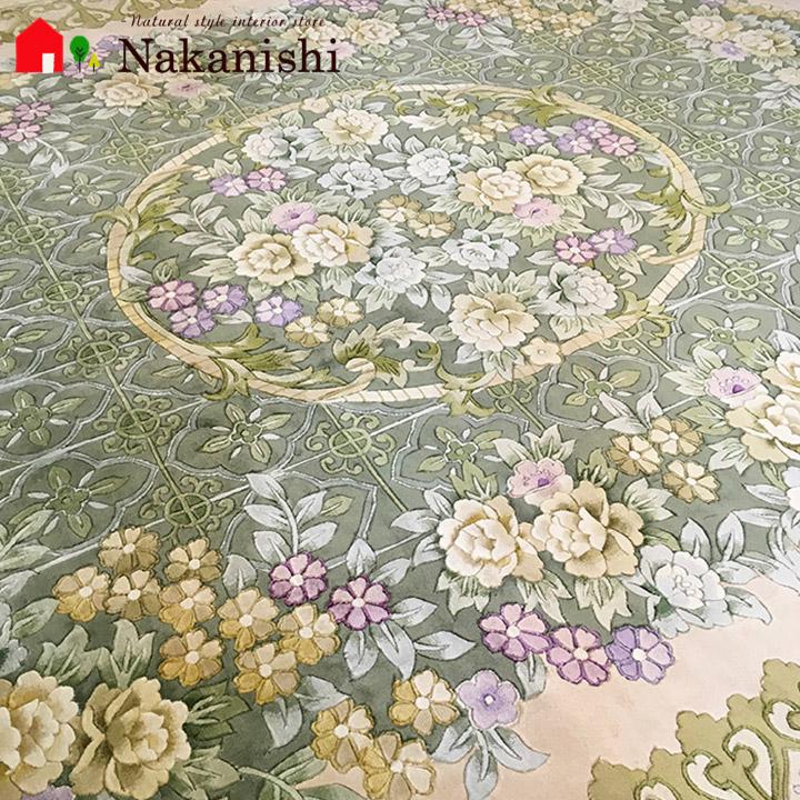 【中国段通 シルク 約6畳用】「凪」絨毯(じゅうたん)・カーペット・ラグ・絹(シルク)100%・120段・約245×309cm・グリーン