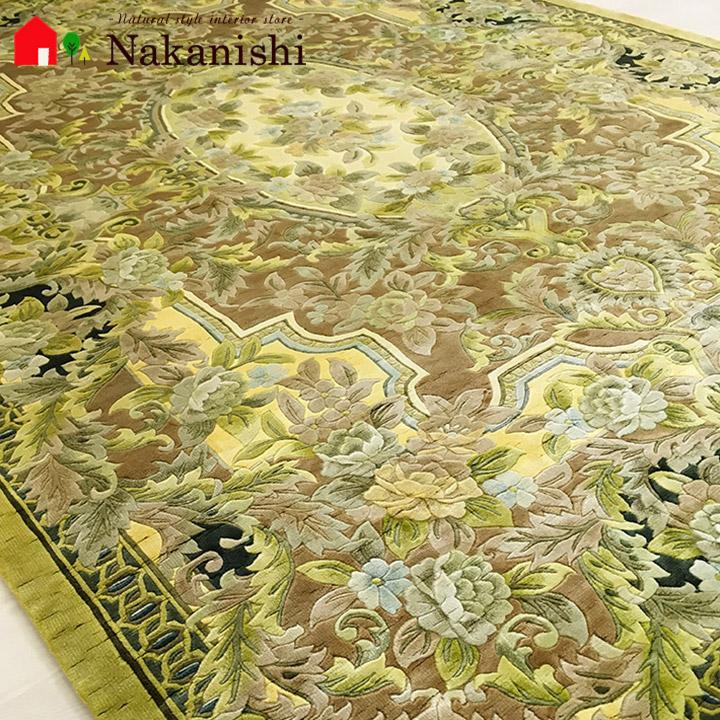 【中国段通 シルク 約3畳用】「希」絨毯(じゅうたん)・カーペット・ラグ・絹(シルク)100%・約169×246cm・120段・イエロー