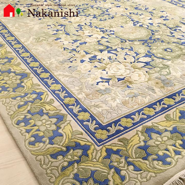 【中国段通 シルク 約3畳用】「翼」絨毯(じゅうたん)・カーペット・ラグ・絹(シルク)100%・約166×245cm・120段・ブルー
