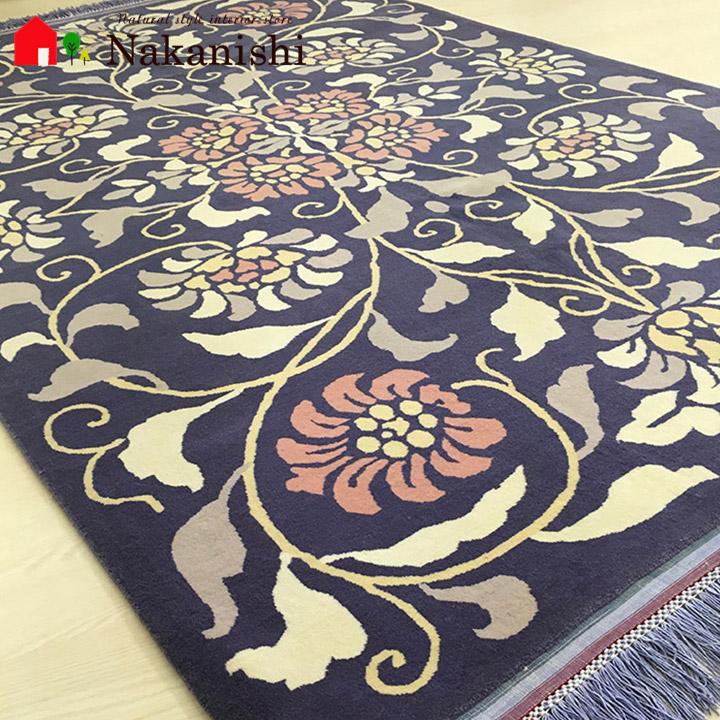 【ペルシャ絨毯 ウール 約1.5畳用】「大和」絨毯(じゅうたん)・カーペット・ラグ・毛(ウール)100%・約136×203cm・パープル