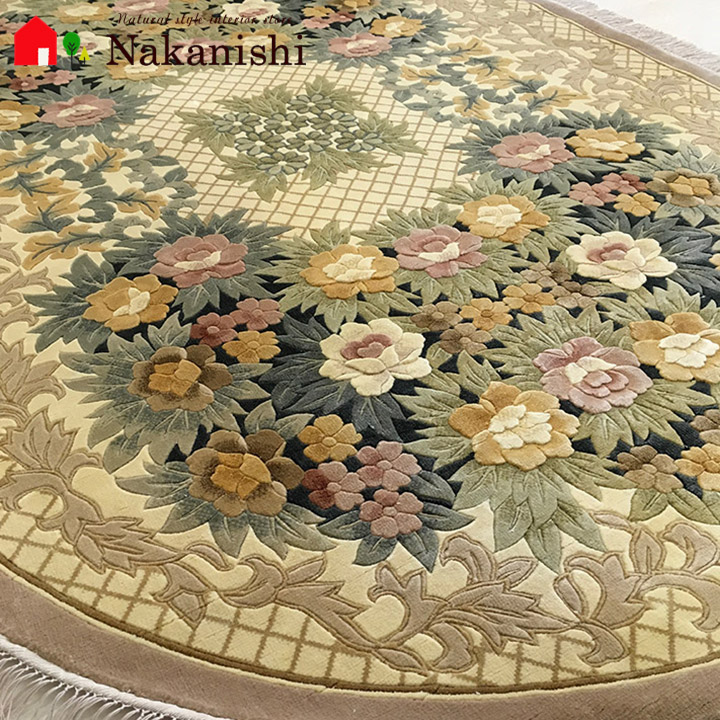 【中国段通 シルク 約1.5畳用 オーバル】「メアリーズ・ローズ・ガーデン」絨毯(じゅうたん)・カーペット・ラグ・絹(シルク)100%・約140×203cm・イエロー・ベージュ・楕円・オーバル