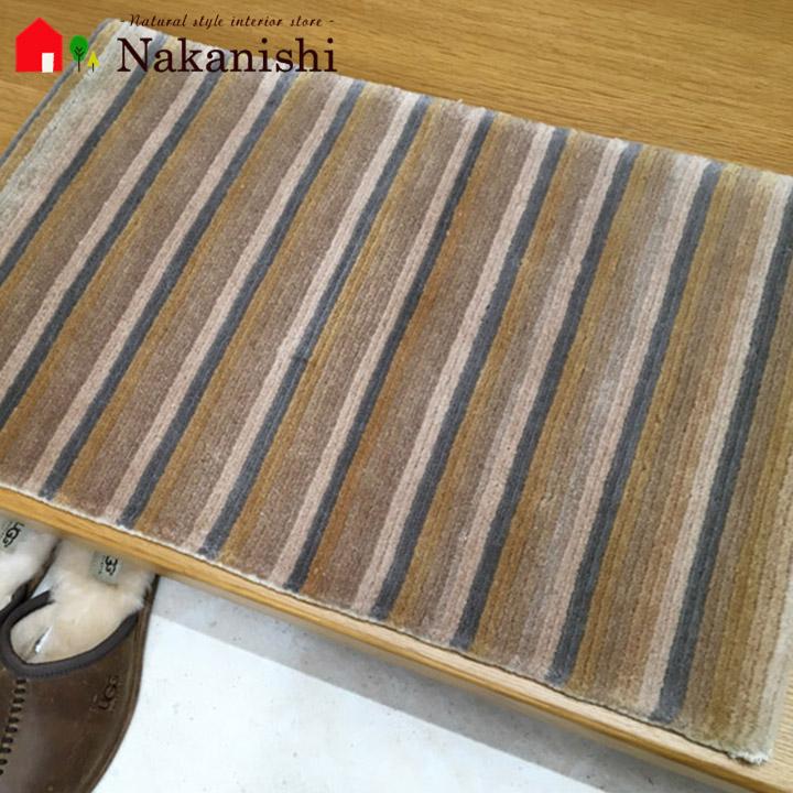 【訳あり 中国段通 ウール 玄関マット】チベット・絨毯(じゅうたん)・カーペット・ラグ・毛(ウール)100%・約47×75cm・ベージュ・糸が抜けやすくなっております。