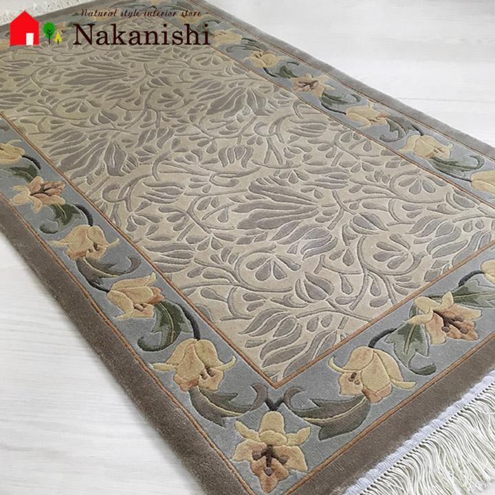 【B級 中国段通 シルク 玄関マット】「RAMAGE TULIPES」絨毯(じゅうたん)・カーペット・ラグ・絹(シルク)100%・約69×123cm・ベージュ