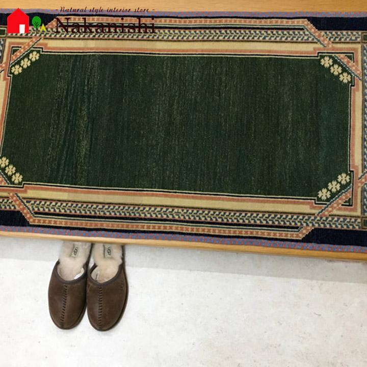 【中国段通 ウール 玄関マット】「草春」絨毯(じゅうたん)・カーペット・ラグ・毛(ウール)100%・約72×124cm・120段