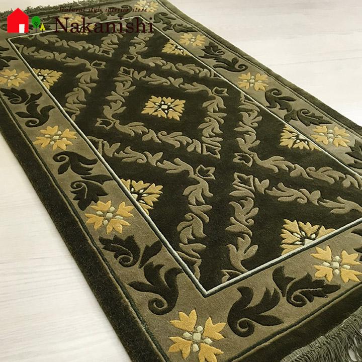 【中国段通 シルク 玄関マット】「Aurum」絨毯(じゅうたん)・カーペット・ラグ・絹(シルク)100%・約69×123cm・グリーン・ブラウン・カーキ・ミュルーズコレクション