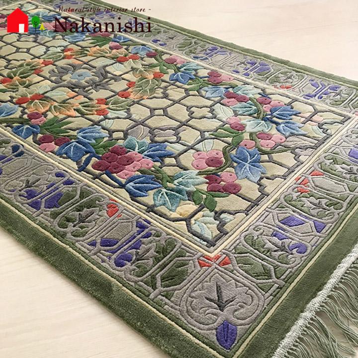 【中国段通 シルク 玄関マット】「実」絨毯(じゅうたん)・カーペット・ラグ・絹(シルク)100%・約69×122cm・120段・グレー