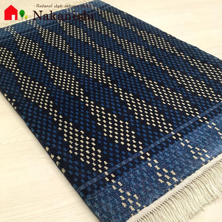 【中国段通 シルク 玄関マット】「DB2091」絨毯(じゅうたん)・カーペット・ラグ・絹(シルク)100%・約62×95cm・120段・ネイビー・紺・ブルー