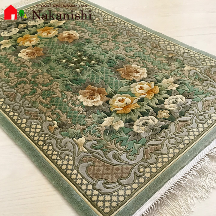 【中国段通 シルク 玄関マット】「柊」絨毯(じゅうたん)・カーペット・ラグ・絹(シルク)100%・約62×95cm・120段・グリーン系