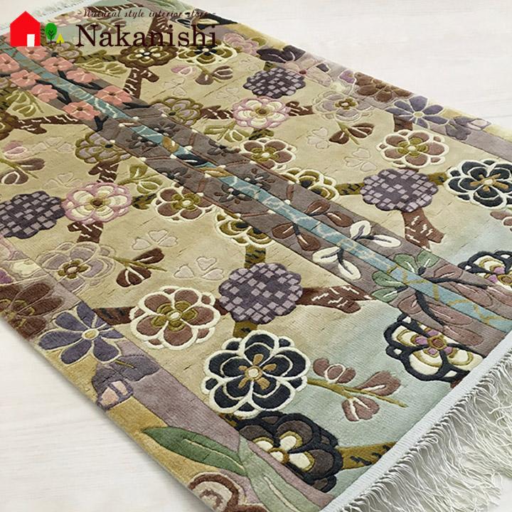 【中国段通 シルク 玄関マット】「清かsayaka」絨毯(じゅうたん)・カーペット・ラグ・絹(シルク)100%・約61.5×96cm・120段・マルチカラー