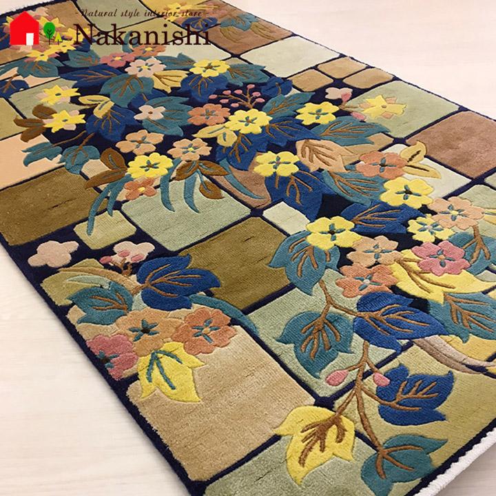 【中国段通 シルク 玄関マット】「マリンバ」絨毯(じゅうたん)・カーペット・ラグ・絹(シルク)100%・約69.5×124cm・120段・マルチ