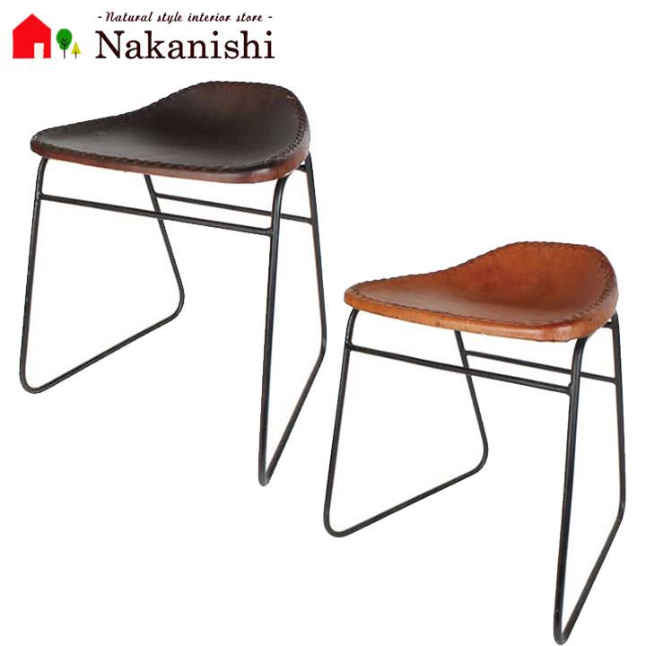 【本革スツール INHF088】レザースツール・本革椅子・チェア・アイアン・カラー全2色(ダークブラウン・キャメル)