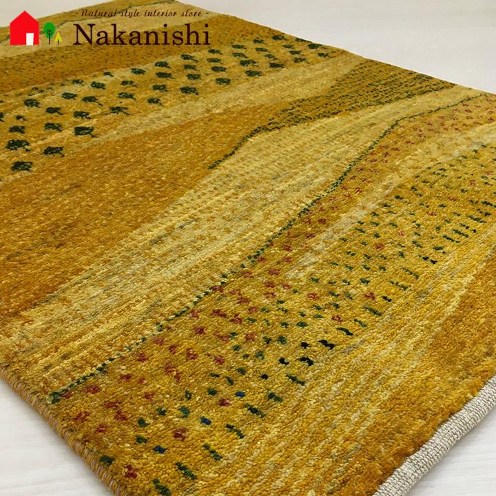 【ギャッベ 玄関マット Kimberlite(43412)】GABBEH・ギャッペ(ギャべ)・イラン製・玄関マット・カーペット・ラグ・絨毯(じゅうたん)・約64×91cm・イエロー系