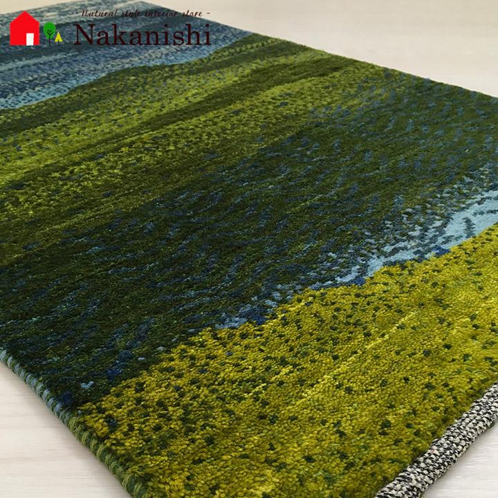 【ギャッベ 玄関マット カントリーロード(44013)】GABBEH・ギャッペ(ギャべ)・イラン製・玄関マット・カーペット・ラグ・絨毯(じゅうたん)・約67.5×93cm・ランドケープ・空・山・風景・グリーン系・ブルー系