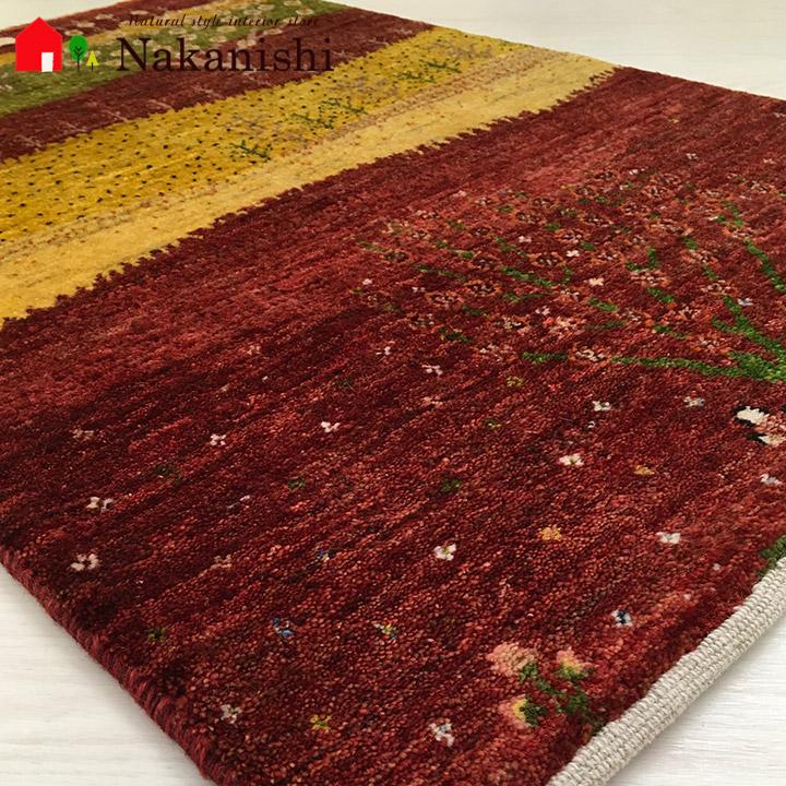 【ギャッベ 玄関マット Kohaku色の桜(58065)】GABBEH・ギャッペ(ギャべ)・イラン製・玄関マット・カーペット・ラグ・絨毯(じゅうたん)・約68×100cm・ランドケープ・風景・レッド系