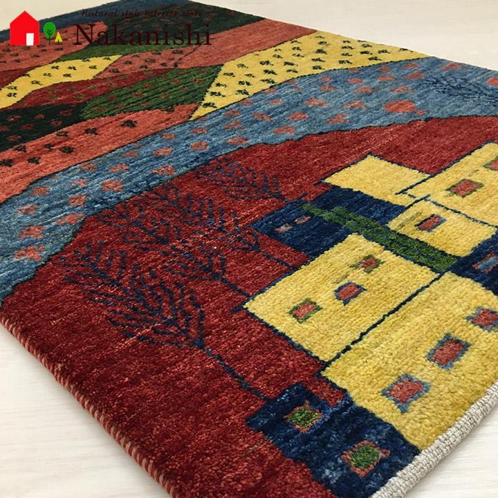 【ギャッベ 玄関マット 山の交響曲(60842)】GABBEH・ギャッペ(ギャべ)・イラン製・玄関マット・カーペット・ラグ・絨毯(じゅうたん)・約66.5×104cm・ランドケープ・風景・カラフル
