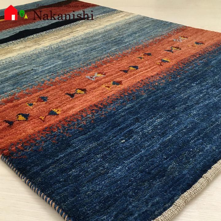 【ギャッベ 玄関マット バーダーブスールトの泉(60811)】GABBEH・ギャッペ(ギャべ)・イラン製・玄関マット・カーペット・ラグ・絨毯(じゅうたん)・約67×102cm・ランドケープ・風景・ブルー系