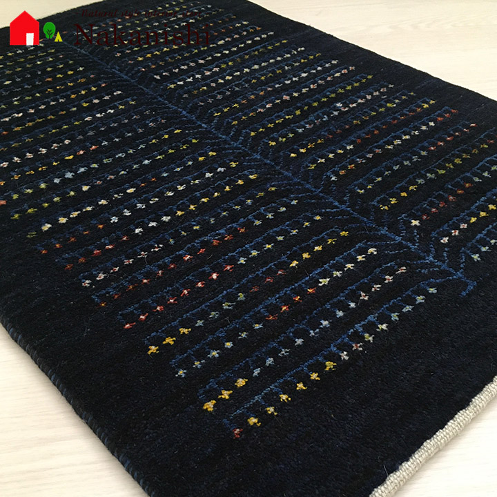【ギャッベ 玄関マット 北の木精達(58137)】GABBEH・ギャッペ(ギャべ)・イラン製・玄関マット・カーペット・ラグ・絨毯(じゅうたん)・約66×102cm・生命の樹・ネイビー