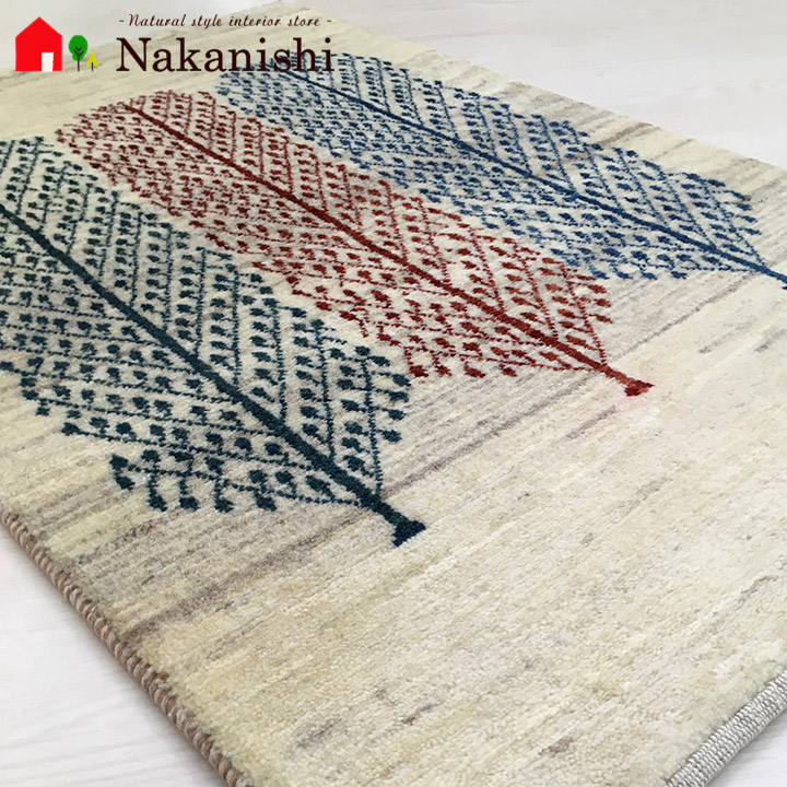 【ギャッベ 玄関マット 3人兄弟(60840)】GABBEH・ギャッペ(ギャべ)・イラン製・玄関マット・カーペット・ラグ・絨毯(じゅうたん)・約66×103cm・生命の樹・アイボリー系