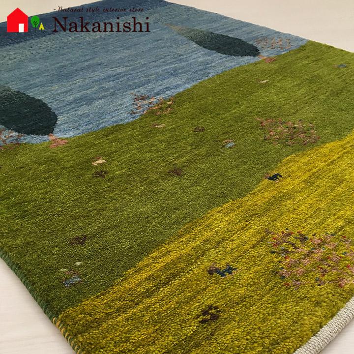 【ギャッベ 玄関マット 遥かなる憧憬に祈りを2(58113)】GABBEH・ギャッペ(ギャべ)・イラン製・玄関マット・カーペット・ラグ・絨毯(じゅうたん)・約83×118cm・ランドケープ・風景・生命の樹・カラフル