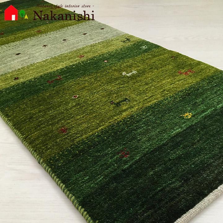【ギャッベ ランナー 約48×125cm カントリーロード3】GABBEH ギャッベ(ギャベ)・イラン製・ロング・ランナー・キッチンマット・絨毯(じゅうたん)・カーペット・ラグ・グリーン
