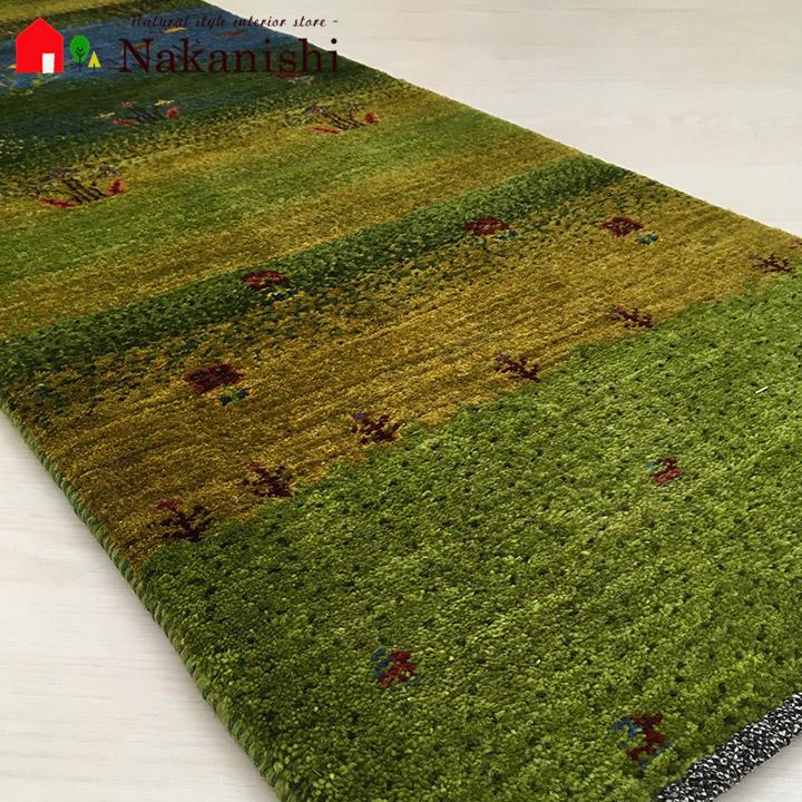 【ギャッベ ランナー 約47×145cm 春遥か】GABBEH ギャッベ(ギャベ)・イラン製・ロング・ランナー・キッチンマット・絨毯(じゅうたん)・カーペット・ラグ・ランドケープ・風景・グリーン系