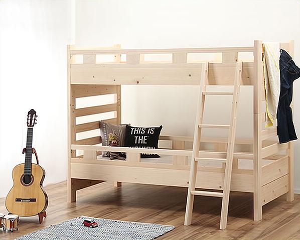 床高を変えられるナチュラルな無塗装の国産ひのき2段ベッド/二段ベッド 二段ベッド 2段ベッド 二段ベット 2段ベット 北欧 おしゃれ Fフォースター 子ども 子供部屋 高さ調節 柵 天然木 男の子 女の子