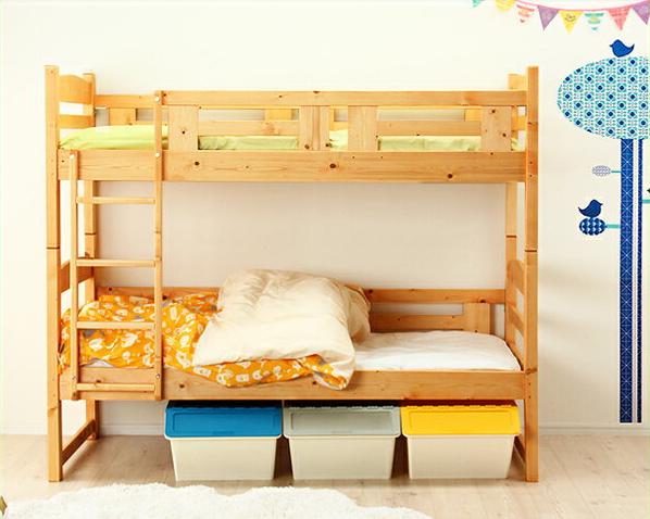 二段ベッド 2段ベッド すのこベッド 子供用 二段ベット 2段ベット ベッド ベット 北欧風 北欧 パイン 子供 こども 子ども ナチュラル シンプル 子供用家具 シングルベッド シングルベット すのこ 柵 ハシゴ はしご 床下収納 桐 無垢 自然塗料 国産 日本製 子供部屋