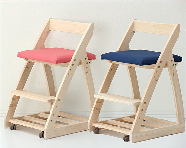 【杉工場】【ルナ】 木製上下可動椅子(布座)学習チェア 学習椅子 学習イス 高さ調節 リビング学習 ダイニング学習 勉強椅子 おしゃれ おすすめ