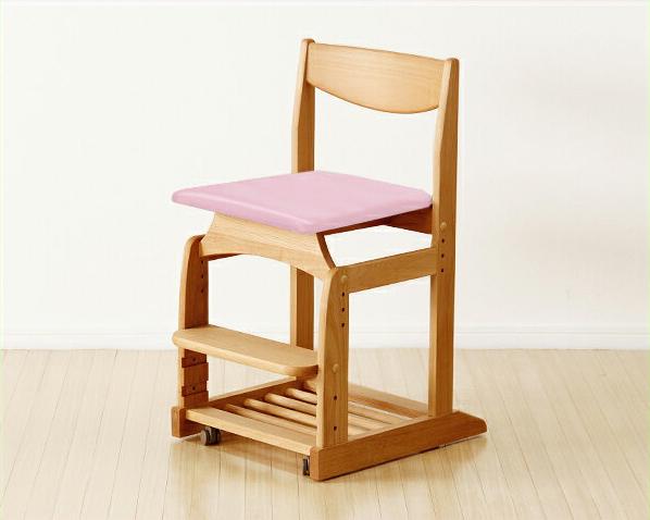 木のぬくもりがあり使いやすい学習椅子・学習チェア(ピンク) 学習いす 学習イス 子ども部屋 シンプル ナチュラル かわいい アルダー材 オイル塗装 高さ調節 キャスター付 ランドセル収納 国産 日本製 自然塗装 女の子 堀田木工所 北欧