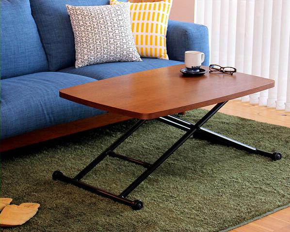 ウォールナットのガス圧式昇降テーブル幅90cmダイニングテーブル ダイニング テーブル おしゃれ 木製 ウォールナット リビング 昇降式 高さ調節 ワークデスク ローテーブル リフティングテーブル リフトテーブル リフトアップテーブル 昇降式テーブル ガス圧