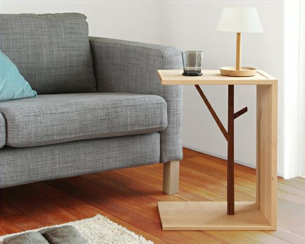 メープル無垢のソファサイドテーブル※キャンセル不可 ベッド ナイトテーブル 木製 北欧 ウォールナット コの字 玄関 無垢材 ウォルナット ソファーテーブル 2way ナチュラル 家具