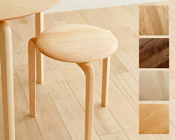 なめらか曲線が美しいスタッキング可能なLISCIO スタックスツール ※キャンセル不可丸椅子 丸いす 丸イス おしゃれ ウォールナット チェリー メープル オーク 日本 木製 丸 スツール 重ね スタッキングチェア 国産