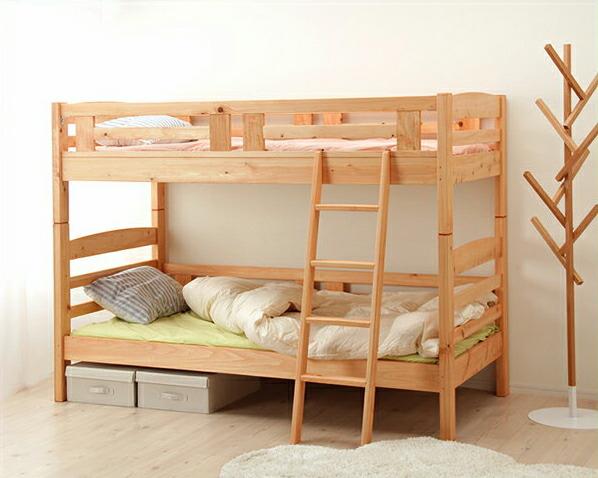 送料無料 国産 安心 安全の優しい仕上がり ひのき無垢材を使用したあたたかい気持ちになれる明るい色味の2段ベッド 二段ベッド 認定商品 美品 ハシゴ取り外し可 大川家具 倉庫 職人MADE すのこベッド