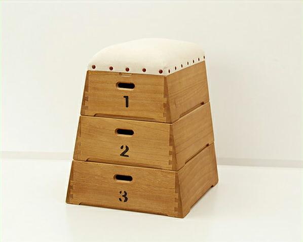桐製3段跳び箱型おもちゃ箱