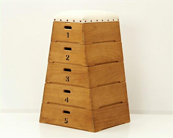桐製5段跳び箱型おもちゃ箱