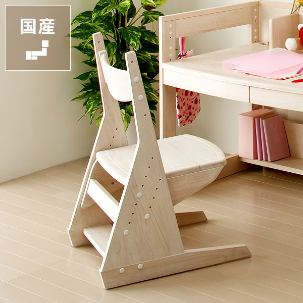 白くてカワイイ♪エコ塗装学習椅子・学習チェア