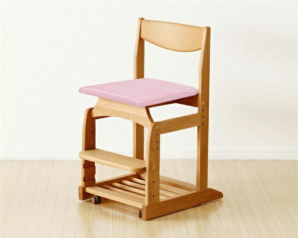 木のぬくもりがあり使いやすい学習椅子・学習チェア(ピンク)