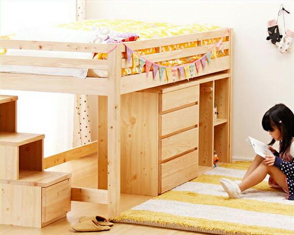 子供部屋にぴったり!お部屋を有効活用出来る万能システム・ロフトベッド(階段タイプ)4点セット