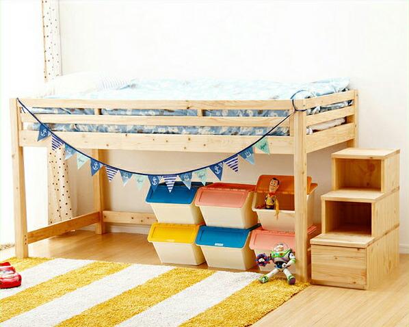 子供部屋にぴったり!お部屋を有効活用出来る万能システム・ロフトベッド(階段タイプ)