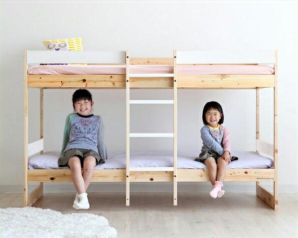 色とデザインを楽しむおしゃれな北欧テイストの国産ひのき二段ベッド/2段ベッド(ホワイト)ホームカミング Homecoming NH01